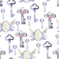 Watercolor big and small blue door keys and keyhole seamless pattern Royalty Free Stock Photo