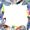Watercolor bird feather frame from wing.