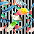 Watercolor bird feather from wing. Seamless background pattern. Fabric wallpaper print texture.
