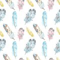Watercolor bird feathers seamless pattern in pastel colors on white background. Hand drawn ethnic tribal illustration