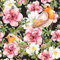 Watercolor birds and watercolor flowers . Seamless floral pattern. Royalty Free Stock Photo