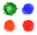 Watercolor blots set in abstract hand drawn Royalty Free Stock Images