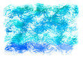 Watercolor blue background. Watercolor artistic sea wave, water, sky.