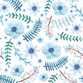 Watercolor Blue Berries, Flowers and Leaves Seamless Pattern