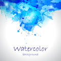 Watercolor blue blot background watercolour abstract decorative Stock Image