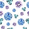 Watercolor blue diamond pattern