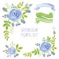 Watercolor blue flowers bouquet , corners decor set