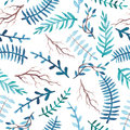 Watercolor Blue Leaves and Branches Seamless Pattern