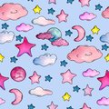 Watercolor blue pattern with stars, clouds and moon