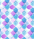 Watercolor Blue And Pink Squares Repeat Pattern