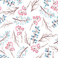 Watercolor Blue and Red Berries Seamless Pattern
