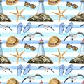Watercolor blue stripes beach seamless pattern with symbols of summer vacations. Hand painted lighthouse, flip flops, starfish, Royalty Free Stock Photo