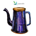 Watercolor blue teapot  on white background Royalty Free Stock Photo