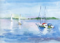 Watercolor Boat On River Water...