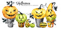 Watercolor border, set of cakes with cartoon pumpkins. Halloween holiday illustration. Funny dessert. Magic, symbol of