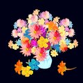 Watercolor bouquet with beautiful colorful flowers in vase on black background Royalty Free Stock Photo