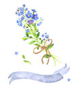 Watercolor bouquet. Blue forget-me-nots and tape