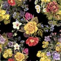 Watercolor bouquet different flowers. Floral seamless pattern.