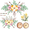 Watercolor Bouquets With Yellow Flowers, Arrows And Wood