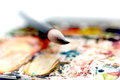 Watercolor box with a paint brush in close up shot Royalty Free Stock Photography