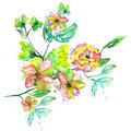 Watercolor branch with with pink, yellow and green flowers and green leaves