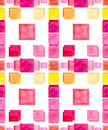 Watercolor Bright Pink And Yellow Squares Seamless Pattern Royalty Free Stock Photo