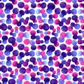 Watercolor bright spot blob seamless pattern. Violet, blue and pink color on dark background. Art brush abstract