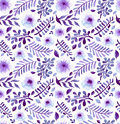 Watercolor Bright Violet Flowers And Leaves Seamless Pattern