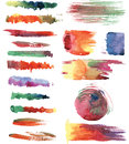 Watercolor brush strokes set of hand made brushes and textures in format Royalty Free Stock Photos