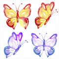 Watercolor butterflies set isolated on white