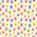 Watercolor butterfly seamless pattern on warm yellow background. Hand painted Colorful spring and summer illustration