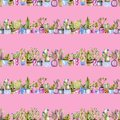 Watercolor cactuses in a pots seamless pattern