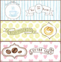 Watercolor cafe tags, labels ,banners set.eps Royalty Free Stock Photo