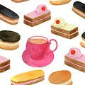 Watercolor cakes seamless pattern. Hand drawn cup of tea, fruit cream biscuit, eclair with chocolate glaze, honey