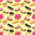 Watercolor cakes seamless pattern. Hand drawn cup of tea, fruit cream biscuit, eclair with chocolate glaze, honey dessert. Sweet