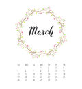 Watercolor Calendar template for March 2017 year