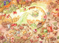 Watercolor candy illustration. Many kinds of sweets. Doodle. Tea