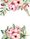 Watercolor card with place for text with flower,peonies,leaves,branches,lupin,air plant,strawberry