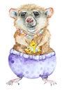Watercolor cartoon mouse