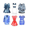 Watercolor casual dresses on white background.