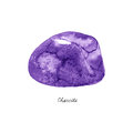 Watercolor Charoite mineral - violet gemstone macro isolated on white Royalty Free Stock Photo