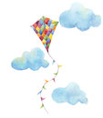 Watercolor Checkerboard Kite A...