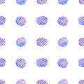 Watercolor checkered circles seamless abstract vector pattern (blue-purple colors). Royalty Free Stock Photo