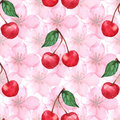 Watercolor cherry berry sakura seamless pattern texture background vector
