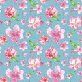 Watercolor cherry blossom seamless pattern. hand painted pink flowers of sacura tree on blue textured background. Botanical