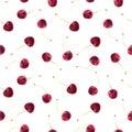 Watercolor cherry vector pattern