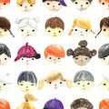 Watercolor children faces. Royalty Free Stock Photo