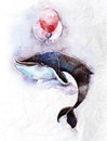 Watercolor children s illustration cute whale flying sky balloons Royalty Free Stock Photography