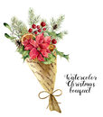 Watercolor christmas bouquet. Vintage floral composition with christmas tree branches, bells, holly, mistletoe