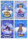White bear, leopard, deer, walrus, stork in a snowball
